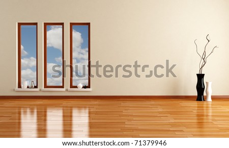 empty minimalist room with three wooden windows - rendering