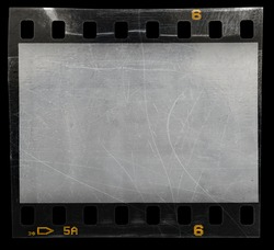 empty 35mm film strip snip isolated on black background with scratches and dust, cool photo placeholder for your vintage social media posting.