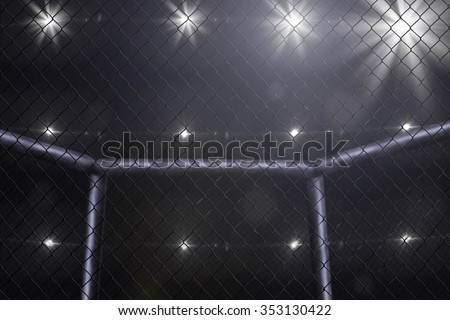 Empty mma arena side view under lights. Blurred.