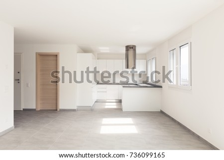 Empty modern apartment, empty spaces
