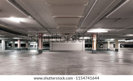 Empty Modern Car Parking Garage Interior Background 1154741644