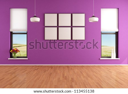 Empty modern purple room with two windows - rendering - the image on background is a my photo