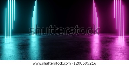 Empty Modern Sci Fi Futuristic Dark Room With Reflection Grunge Concrete Floor And Blue Purple Neon Glowing Electric Tube Shapes Lights With Black Background 3D Rendering Illustration