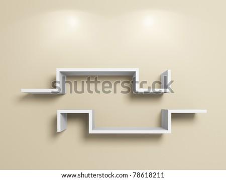 Empty modern white shelves on beige wall.3d rendered.