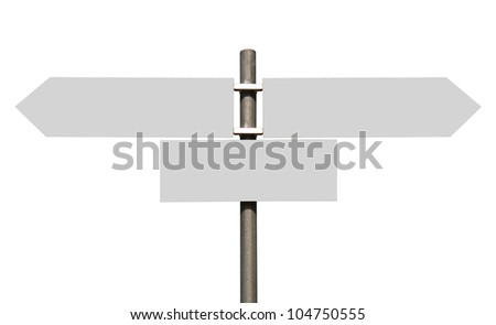 empty multidirectional sign isolated on white background (boards isolated on grey)