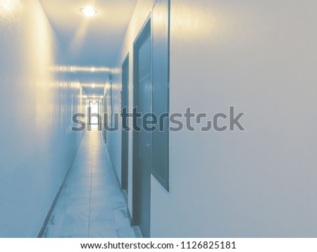 Empty narrow corridor and light with doors and wall of downtown department  #1126825181