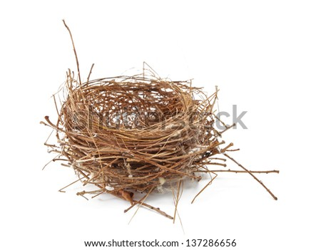 Empty Nest Isolated on White
