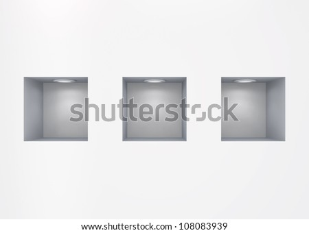 Empty niches.Isolated on white.3d rendered.