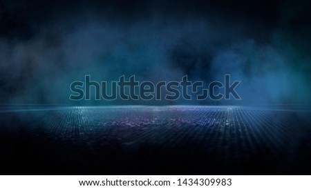 Empty night scene with new rays and spotlights, smoke, smog. Light lamps, reflected on the wet asphalt, dark street scene, the lights of the night city. Reflection of the rays. #1434309983