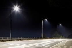 empty night street with modern LED illumination