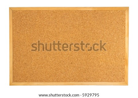 Empty notice corkboard (cork board) for pins isolated on white background