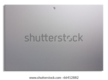 empty notice of satin aluminum, blank sheet with hole for hanging
