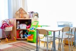 Empty nursery room.Beautiful interior of game room in kindergarten