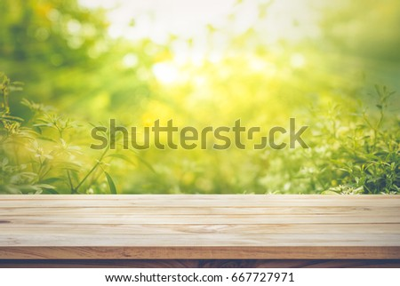 Empty of wood table top on blur of fresh green abstract from garden backgrounds.For montage product display or key visual layout