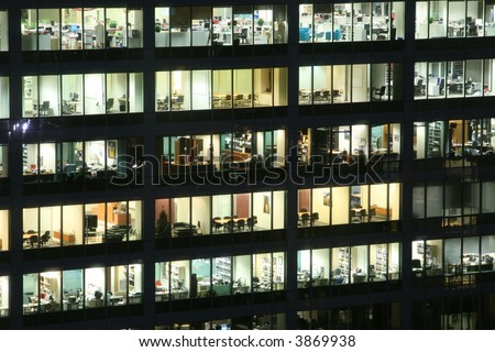 empty office building at night external view