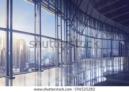 Empty office room on modern building with sunlight #596525282