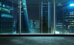 Empty office room with view of the modern business skyscrapers high-rise buildings at night . Mixed media .