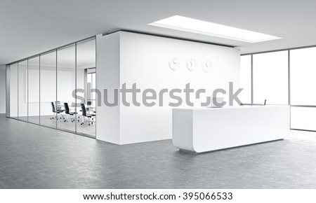 Empty office, white reception at white wall, three clocks on it. Panoramic window right, meeting room behind. Concept of reception. 3D rendering
