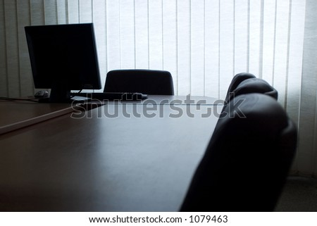 Empty office with computer