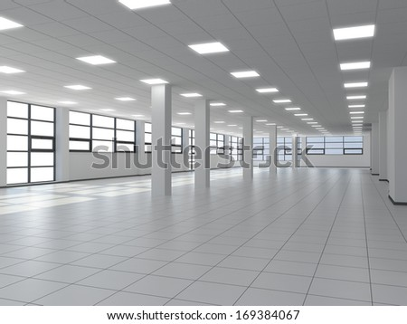 Empty Office With White Columns And Large Windows