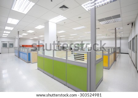 Empty office workplace with partition.