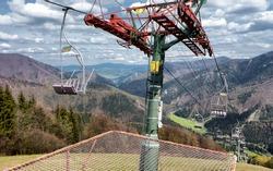 Empty old cableway in ski resort Lucivna, Slovakia