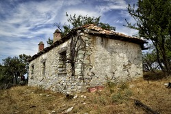 Empty old house from abandoned Bulgarian village