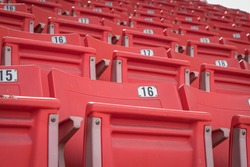 Empty old seat got abandoned in stadium with no spectators due to Covid-19 or Corona Virus affect cancellation of sport tournament