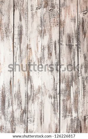 Empty old shabby white painted wooden background #126226817