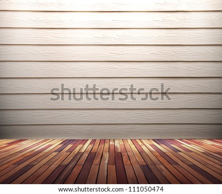 Empty old white wood wall with spot lights and wooden floor