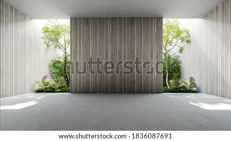 Empty old wood plank wall 3d render,There are concrete floor,Behide the backdrop is a tropical garden,sunlight shine into the room. Сток-фото ©