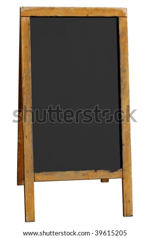 Empty old wooden pub menu board isolated on white. - stock photo