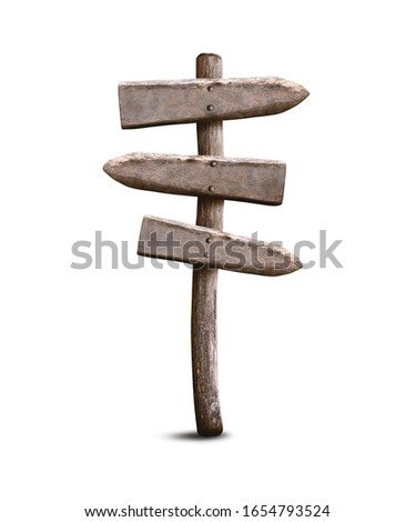 Empty Old Wooden Signpost Isolated on White Background. Left and Right Direction Guidepost Made from Weathered Wood. Stock photo ©