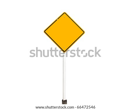 Empty old yellow road sign isolate