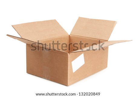 empty open box on a white background