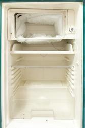 Empty open fridge,old refrigerator.