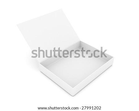 Empty open white box on a white background