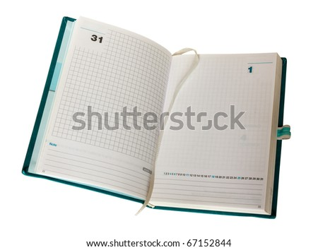 empty opened agenda, organizer with blank page, last first day month year 31 1