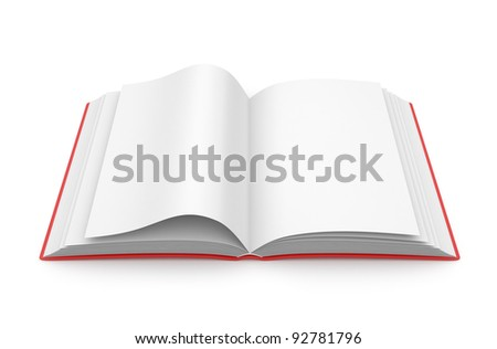 Empty opened book 3D. Education concept. Isolated on white background