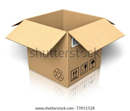 Empty opened cardboard box - stock photo