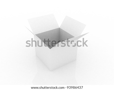 Empty opened cardboard box , 3D images