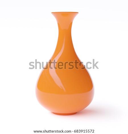 Empty orange vase isolated on white background. 3d image