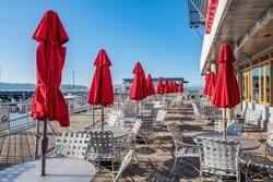 Empty outdoor restaurants at Seattle waterfront, WA