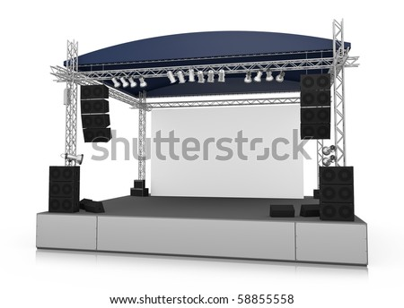 Empty outdoor stage with blank screen. 3D rendered illustration.
