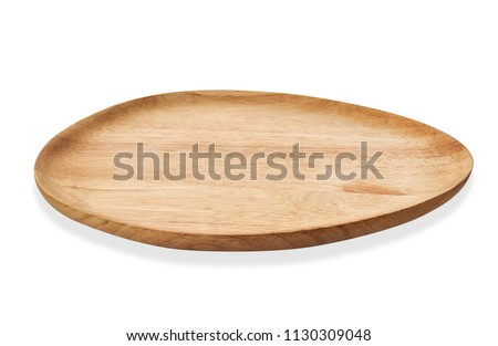 Empty oval wooden tray, Oval natural wood plate, Serving tray isolated on white background with clipping path