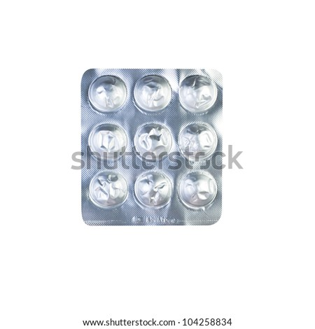 Empty pack of medicine on white background