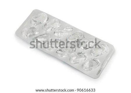 Empty pack of pills isolated on white background