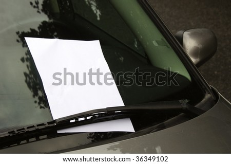 Empty page with copy space on windscreen