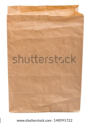 empty paper bag from the store is isolated on a white background