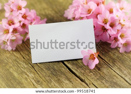 empty paper card with spring flowers